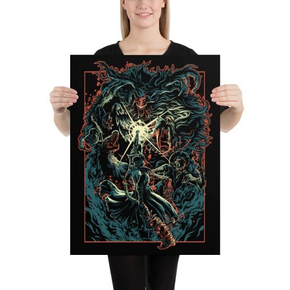 A person holding a 18x24 inch Bloody Beast poster made by Findtees